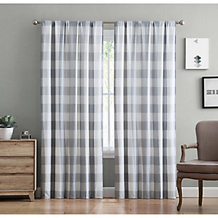 Home Accents Truly Soft Everyday Buffalo Plaid Gray Drape Set, Gray, large