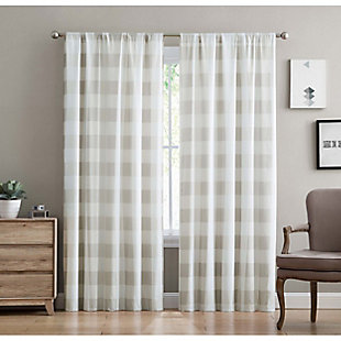 Home Accents Truly Soft Everyday Buffalo Plaid Khaki Drape Set, Khaki, large
