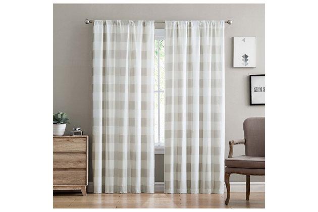 Home Accents Truly Soft Everyday Buffalo Plaid Khaki Drape Set, Khaki, large