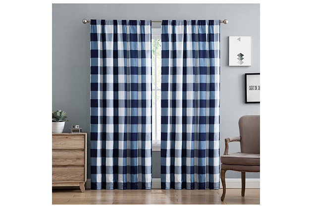 Home Accents Truly Soft Everyday Buffalo Plaid Navy Blue Drape Set, Navy Blue, large