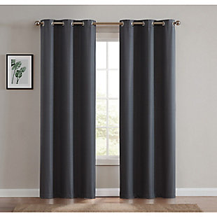 Home Accents Truly Blackout Dark Grey Window Panel Pair, Dark Gray, rollover