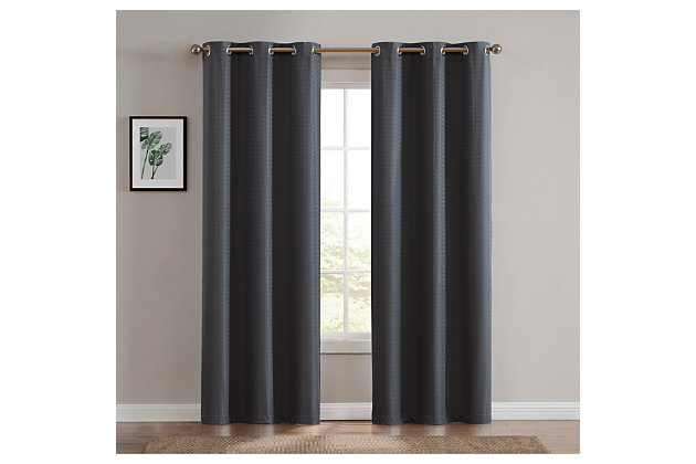 Home Accents Truly Blackout Dark Grey Window Panel Pair, Dark Gray, large