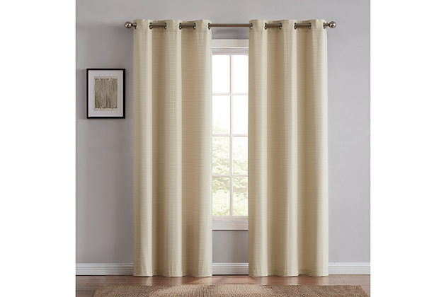 Home Accents Truly Blackout Oatmeal Window Panel Pair, Oatmeal, large