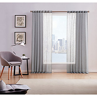 Home Accents Style 212 Sheer 50x84 Grey Window Panel Pair, Gray, rollover