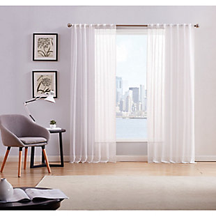 Home Accents Style 212 Sheer 50x84 White Window Panel Pair, White, large