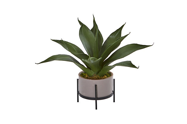 """Nearly Natural  14"""" Agave Succulent in Decorative Planter, , large"""