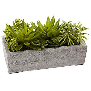 Nearly Natural  Succulent Garden w/Concrete Planter, , rollover