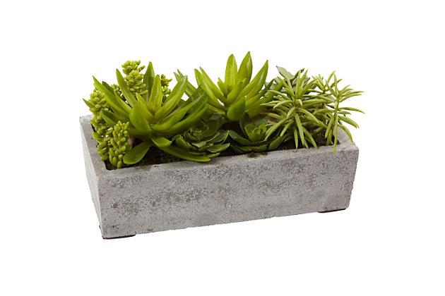 Nearly Natural  Succulent Garden w/Concrete Planter, , large