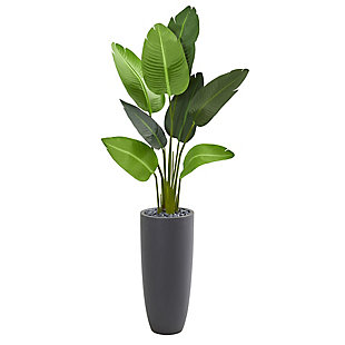 Nearly Natural  5.5' Traveler's Palm Artificial Tree in Gray Planter, , large
