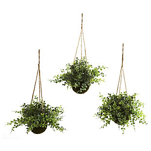 Nearly Natural  Eucalyptus, Maiden Hair & Berry Hanging Basket (Set of 3), , large