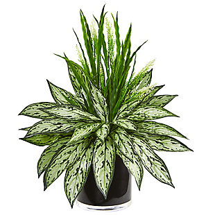 Nearly Natural  Silver Queen and Grass Artificial Plant in Black Vase, , large