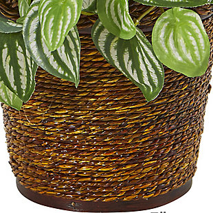 "Nearly Natural  13"" Watermelon Peperomia Artificial Plant in Basket (Real Touch), , rollover"