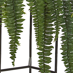 "Nearly Natural  44"" Boston Fern Artificial Plant in Stand Black Planter, , rollover"