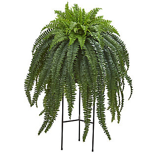 "Nearly Natural  44"" Boston Fern Artificial Plant in Stand Black Planter, , large"