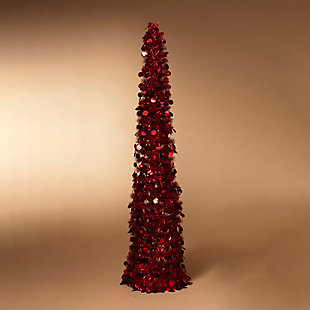 Gerson 5 Ft. Pop Up Battery Operated Pre-Lit Red Tinsel Tree, , large