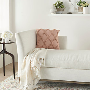 "Nourison Mina Victory 18"" x 18"" Throw Pillow, Blush, rollover"