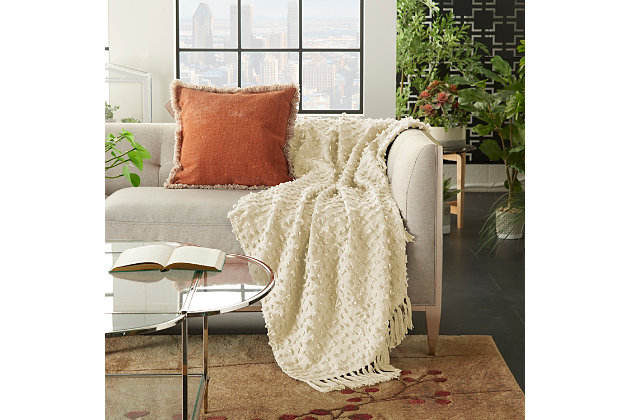 "Nourison Mina Victory 50"" X 60"" Throw Blanket, Cream, large"