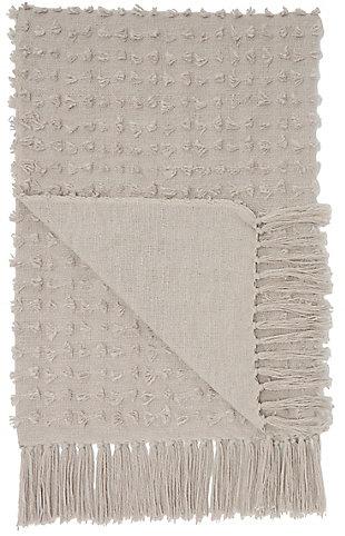 """Nourison Mina Victory 50"""" x 60"""" Throw Blanket, Khaki, large"""