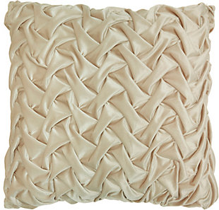 "Nourison Mina Victory Beige Velvet Pleated Wave 22"" x 22"" Throw Pillow, Beige, large"