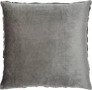 "Nourison Mina Victory Dark Gray Velvet Pleated Wave 22"" x 22"" Throw Pillow, Dark Gray, large"