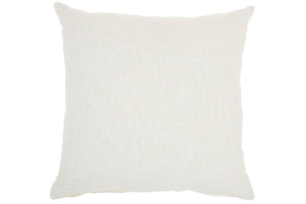 """Nourison Mina Victory 18"""" x 18"""" Throw Pillow, White, large"""