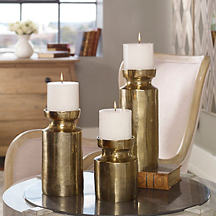 Uttermost  Amina Antique Brass Candleholders (Set of 3), , rollover