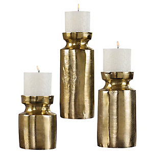 Uttermost  Amina Antique Brass Candleholders (Set of 3), , large