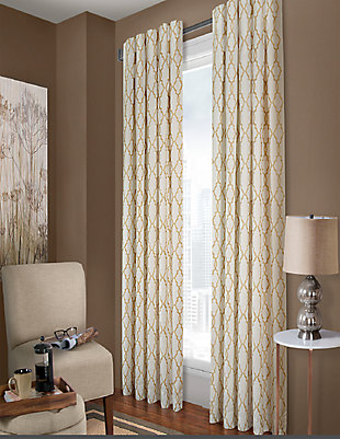 Amelia Amelia Lined Curtain Panel, White/Sand, rollover