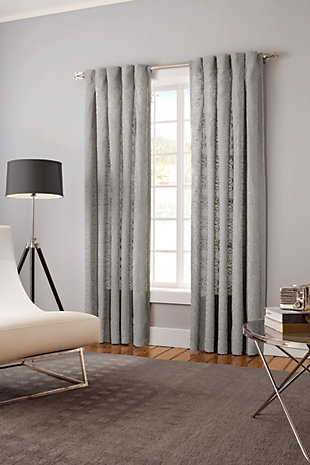 Claudia Claudia Lined Curtain Panel, Slate, rollover