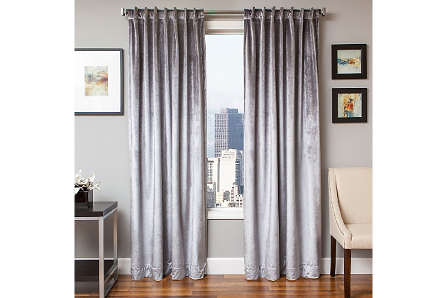 Tantra Tantra Velvet Lined Curtain Panel, Ash, large