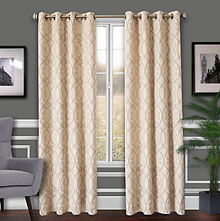 Allure Allure Scroll Lined Curtain Panel, Sage, rollover