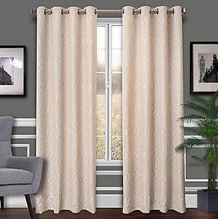 Allure Allure Ikat Lined Curtain Panel, Ecru, rollover