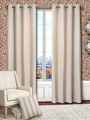 Allure Allure Chevron Lined Curtain Panel, Ecru, large