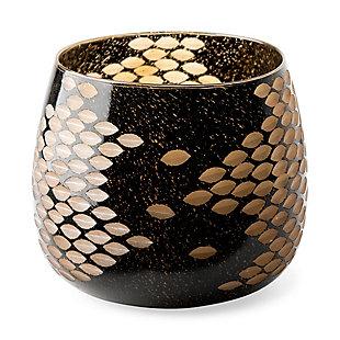 Mercana  Large Black And Gold Detail Glass Vase, , large