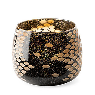 Mercana  Small Black And Gold Detail Glass Vase, , large