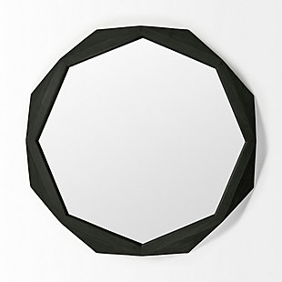 "Mercana  41"" Octagon Black Wood Frame Wall Mirror, , large"