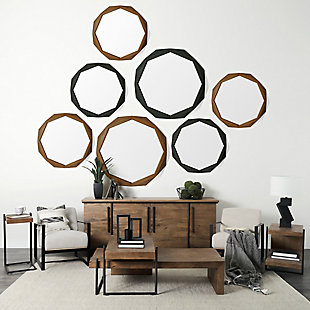 "Mercana  41"" Octagon Brown Wood Frame Wall Mirror, , rollover"
