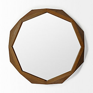 "Mercana  41"" Octagon Brown Wood Frame Wall Mirror, , large"