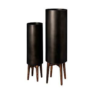 Mercana  10.4 X 31 Set of Two Black Metal Plant Stands, , large