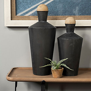 Mercana  Set of Two Black Metal Urns, , rollover