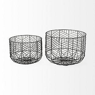 Mercana  Set of Two Black Metal Geometric Mesh Bowls, , large