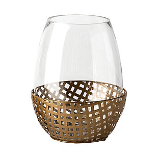 Mercana  Large Gold Woven Metal Base Table Candle Holder, , large