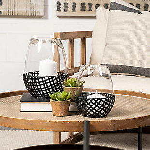 Mercana  Large Black Woven Metal Base Table Candle Holder, , rollover