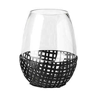 Mercana  Large Black Woven Metal Base Table Candle Holder, , large