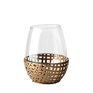 Mercana  Small Gold Woven Metal Base Table Candle Holder, , large