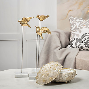Mercana  Set of 3 Metal Decorative Birds Finished In Gold, , rollover