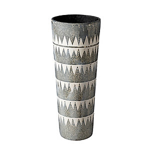 Mercana  Tall Cream/Gray Patterned Ceramic Vase, , large