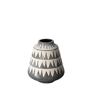 Mercana  Small Cream/Gray Patterned Ceramic Vase, , large