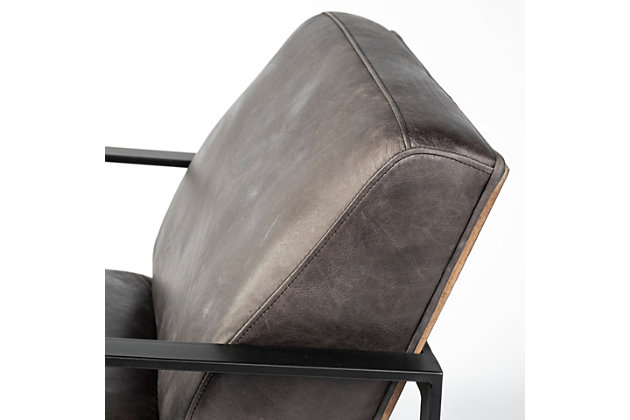 Stamford  Ebony Genuine Leather Wrapped Metal Frame Accent Chair, , large