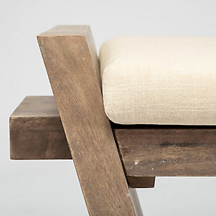 Elaine  58X20 Solid Wood Upholstered Cream Seat Entryway Bench, , large